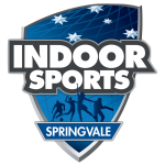 "Dark blue gradiented shield with text displayed ""Indoor sports Springvale"""
